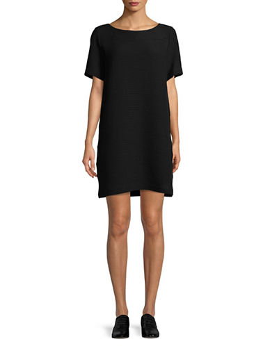 Eileen Fisher Jacquard T-Shirt Dress-BLACK-X-Large