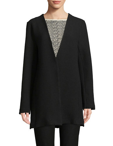 Eileen Fisher Long Jacquard Jacket-BLACK-Medium