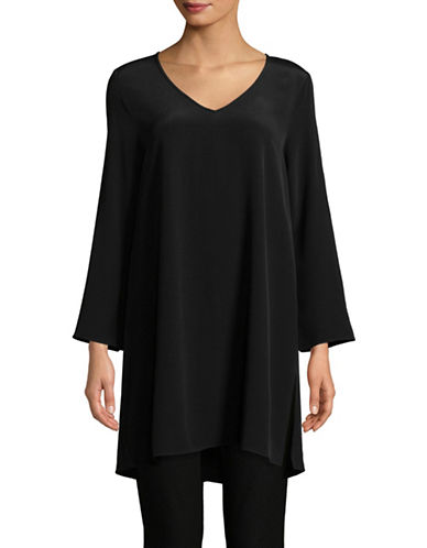 Eileen Fisher V-Neck Dress-BLACK-Small