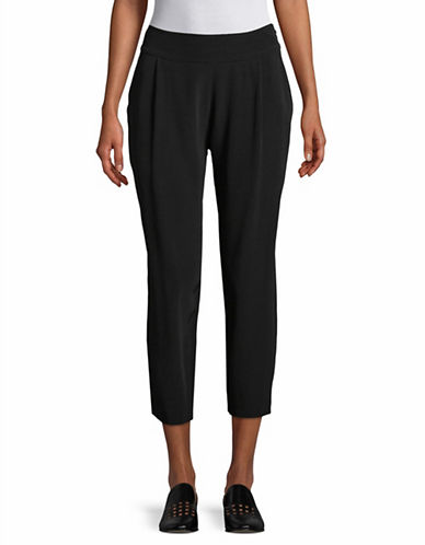 Eileen Fisher Crinkle Crepe Slouch Pants-BLACK-Small