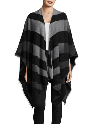Eileen Fisher Chevron Wool Blend Poncho-ASH-One Size