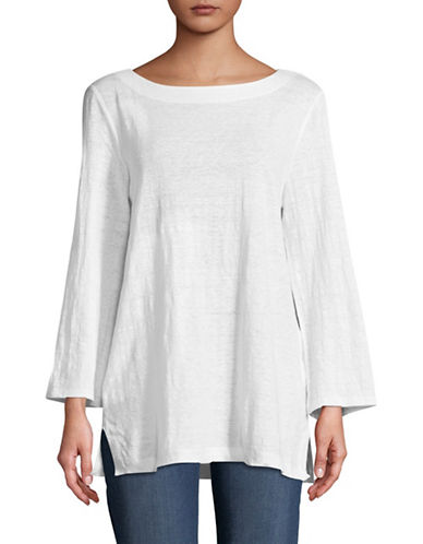 Eileen Fisher Long-Sleeve Linen Top-WHITE-Small