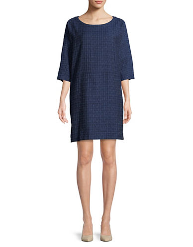 Eileen Fisher Woven Organic Cotton Dress-INDIGO-Medium