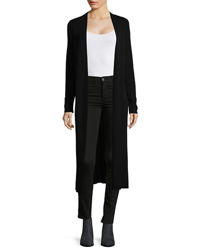 Eileen Fisher Merino Wool Simple Long Cardigan-BLACK-X-Large