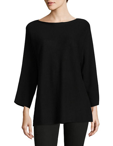 Eileen Fisher Merino Wool Slit-Sleeve Sweater-BLACK-Small