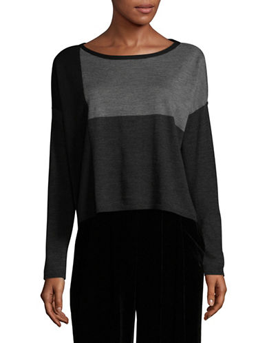 Eileen Fisher Merino Wool Colourblock Cropped Top-CHARCOAL-X-Small