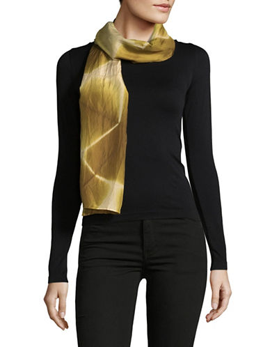 Eileen Fisher Spatial Silk Shibori Scarf-GOLD LEAF-One Size