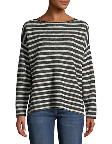 Eileen Fisher Striped Organic Terry Top-BLACK-Small