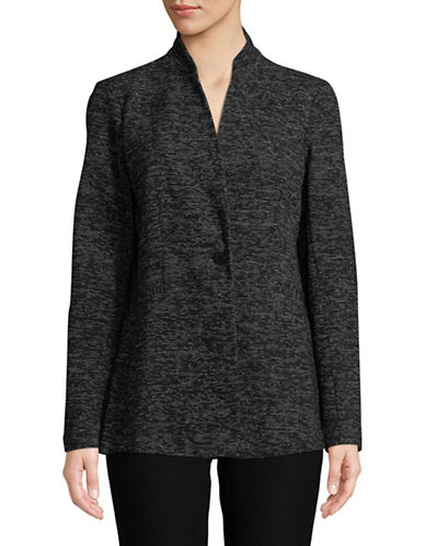 Eileen Fisher Speckled Double-Knit Blazer-BLACK-X-Large