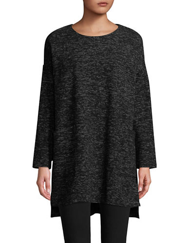 Eileen Fisher Speckle Double Knit Tunic-BLACK-X-Large