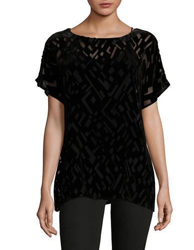Eileen Fisher Geometric Velvet Burnout Top-BLACK-Large
