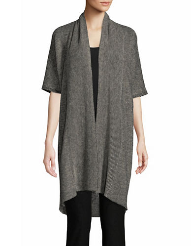 Eileen Fisher Organic Linen Knit Cardigan-GREY-Large