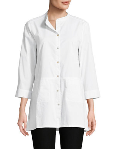 Eileen Fisher Organic Cotton Button Front Shirt-WHITE-Small
