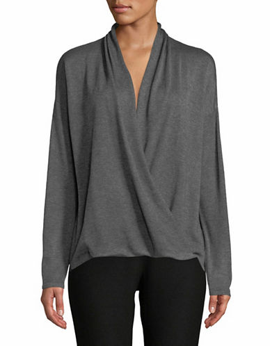Eileen Fisher Merino Seed Stitch V-Neck Top-GREY-Large