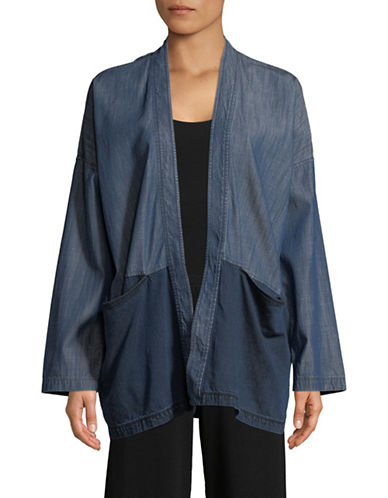 Eileen Fisher Open Front Denim Jacket-MIDNIGHT-X-Small
