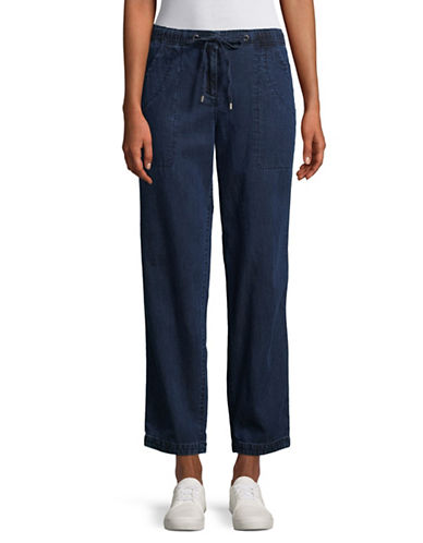 Eileen Fisher Relaxed Drawstring Denim Pants-MIDNIGHT-Medium