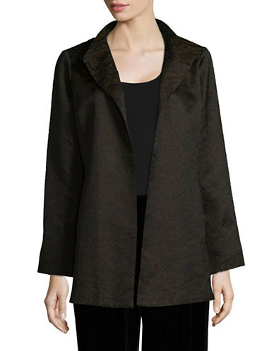 Eileen Fisher Jacquard Wave High Collar Jacket-BLACK-Medium