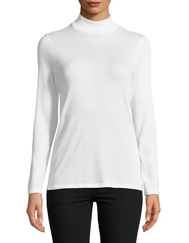 Eileen Fisher Ribbed Stretch Mock Neck Top-WHITE-Small