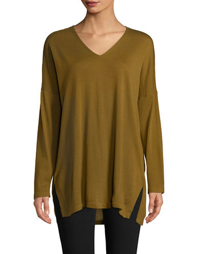 Eileen Fisher Ultrafine Merino Wool V-Neck Tunic-GOLD-Large