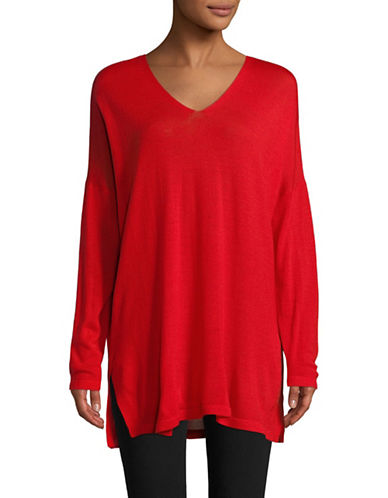Eileen Fisher Ultrafine Merino Wool V-Neck Tunic-LAVA-X-Small