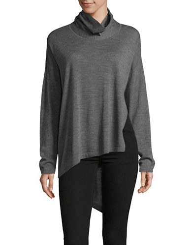 Eileen Fisher Asymmetric Merino Wool Cowl Neck Top-ASH-Large