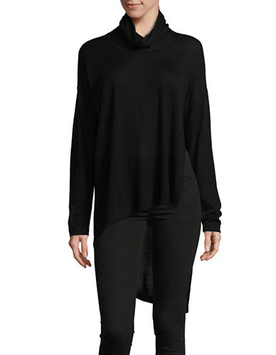 Eileen Fisher Asymmetric Merino Wool Cowl Neck Top-BLACK-Large