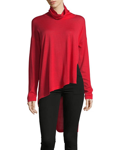 Eileen Fisher Asymmetric Merino Wool Cowl Neck Top-LAVA-X-Small