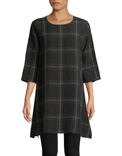 Eileen Fisher Organic Linen Plaid Dress-BLACK-Small