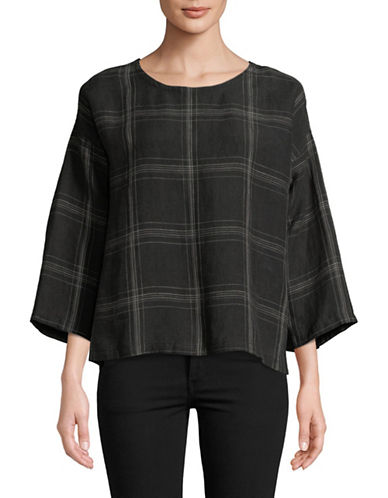 Eileen Fisher Organic Linen Plaid Top-BLACK-X-Small