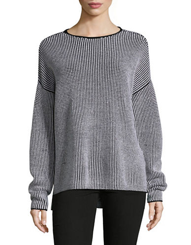 Eileen Fisher Waffle Stitch Wool Box Top-GREY-Large