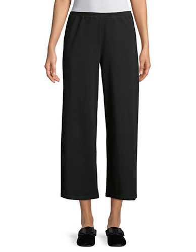 Eileen Fisher Cropped Straight Leg Pants-BLACK-Small