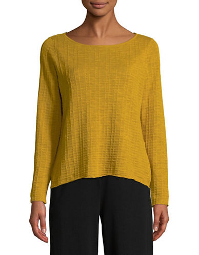 Eileen Fisher Organic Linen Knit Top-YELLOW-Small