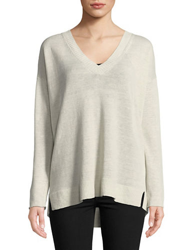 Eileen Fisher Organic Linen Knit V-Neck Pullover-BONE-Small