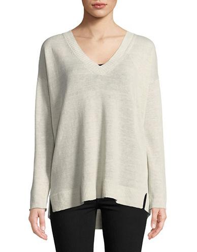 Eileen Fisher Organic Linen Knit V-Neck Pullover-BONE-Medium