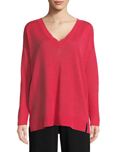 Eileen Fisher Organic Linen Knit V-Neck Pullover-STRAWBERY-Medium