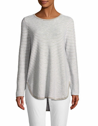 Eileen Fisher Striped Organic Linen Pullover-WHITE-X-Large