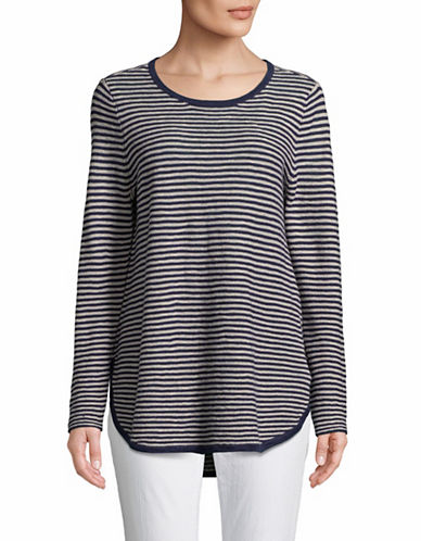 Eileen Fisher Striped Organic Linen Pullover-MIDNIGHT-Large