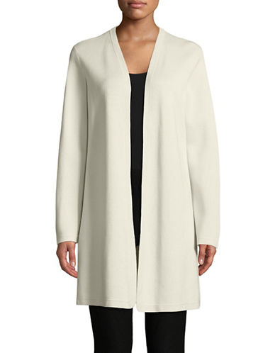 Eileen Fisher Premium Blend Knit Cardigan-BONE-Large