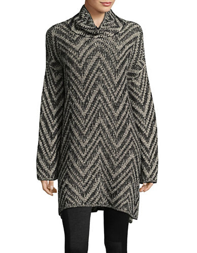 Eileen Fisher Chevron Scrunch-Neck Tunic Dress-GREY MULTI-Large