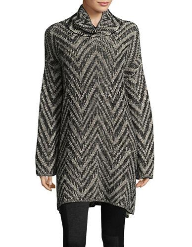 Eileen Fisher Chevron Scrunch-Neck Tunic Dress-GREY MULTI-X-Large