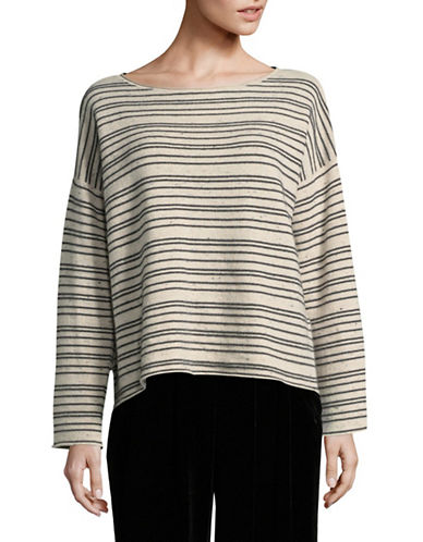 Eileen Fisher Peppered Wool Striped Top-MAPLE OAT-Large