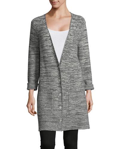 Eileen Fisher Peppered Wool Boyfriend Cardigan-ASH-Large