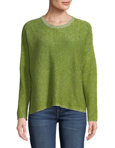 Eileen Fisher Knit Linen Sweater-GREEN-Large