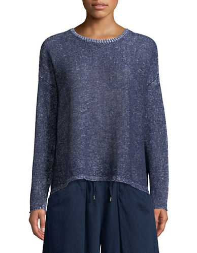 Eileen Fisher Knit Linen Sweater-MIDNIGHT-Small