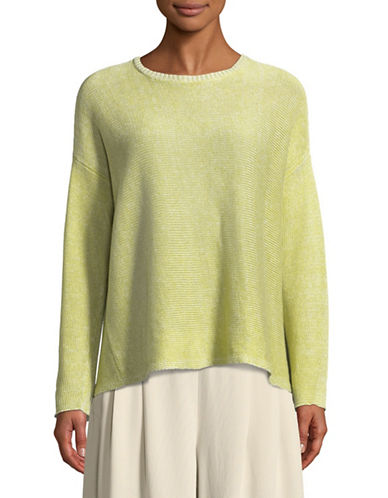 Eileen Fisher Knit Linen Sweater-YELLOW-Medium