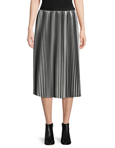 Eileen Fisher Ombre Pleated Skirt-BLACK-Medium