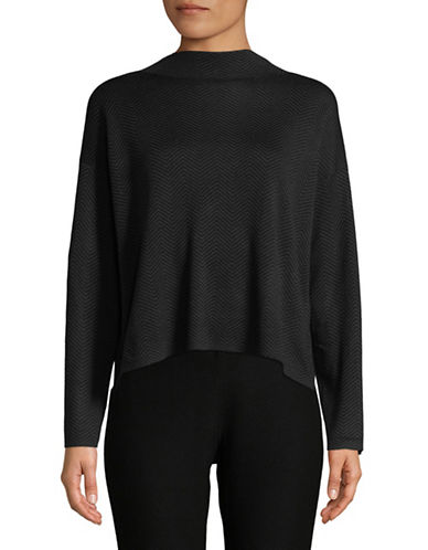 Eileen Fisher Organic Cotton Mock Neck Top-BLACK-Large