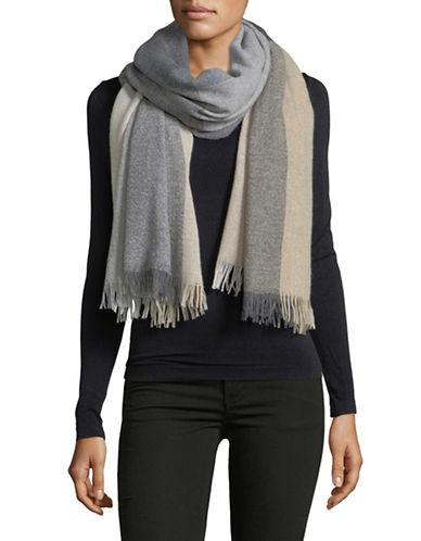 Eileen Fisher Colour Block Cashmere-Blend Wrap-ASH-One Size