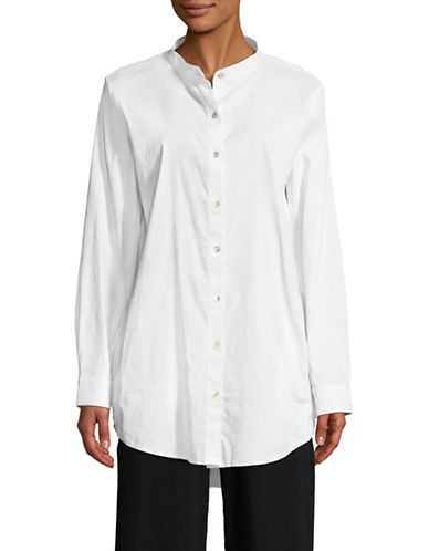 Eileen Fisher Mandarin Collar Shirt-WHITE-Large