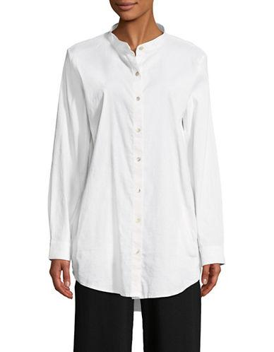 Eileen Fisher Mandarin Collar Shirt-WHITE-Medium